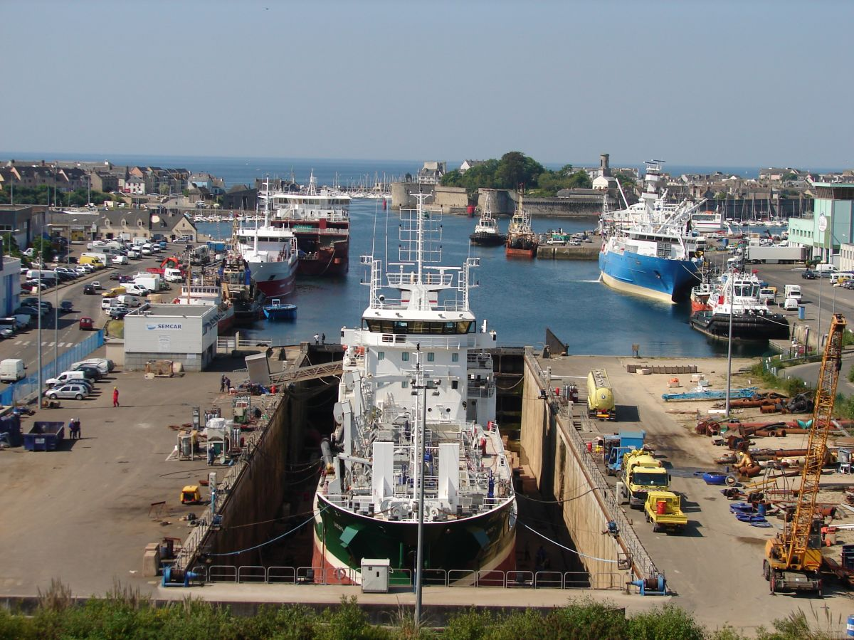 Vessel André L in dry dock at Concarneau